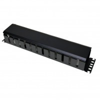 Cable organizer 2U with cover, black (Duplicate)