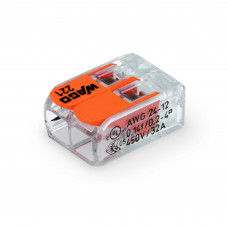 Splice connector COMPACT; for all types of conductors; Max. 4 mm²; 2-wire; with levers; transparent body; Pace. surrounded Wednesday: max. 85 ° C (T85); 4.00 mm²; transparent