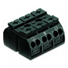 Terminal block, 3Px4x1.5 ... 4mm2, for copper. lane (PE-N-L1), black, WAGO