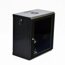 Cabinet 12U, 600х350х640 mm (W * D * H), Economy, acrylic glass, black.