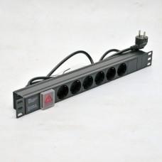 PDU 19'', 16 A, 1U,  6 ways, german socket