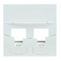 Faceplate 2 modules RJ45, 45x45 mm, white
